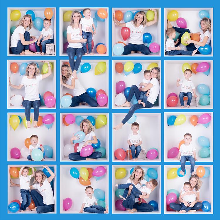 montage photos dans une boite maman et son fils