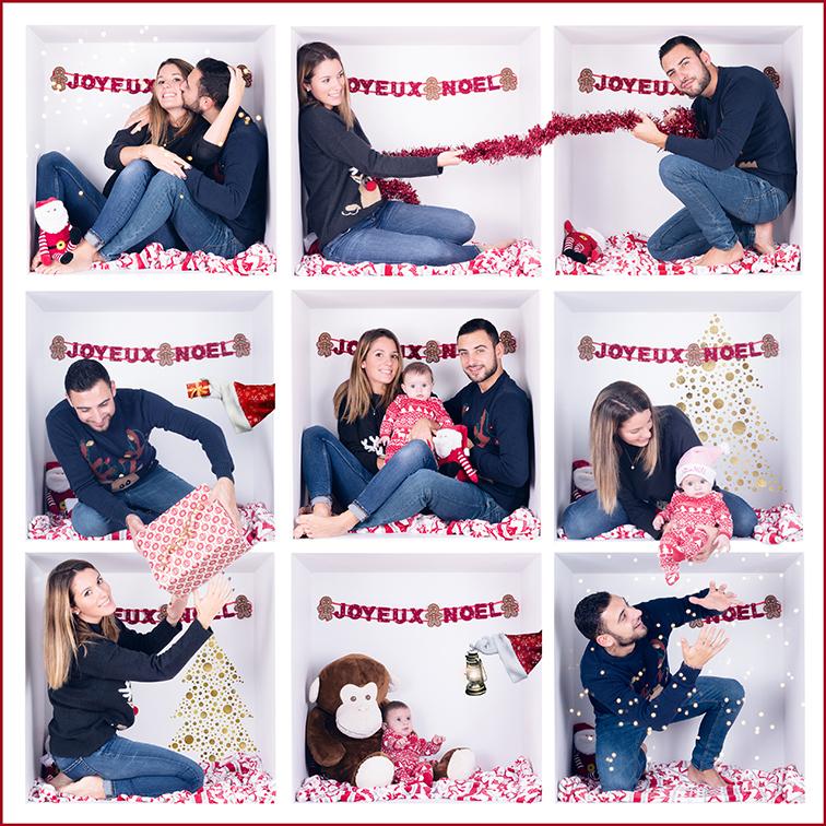 montage 9 photos de noël dans une boite d'un couple