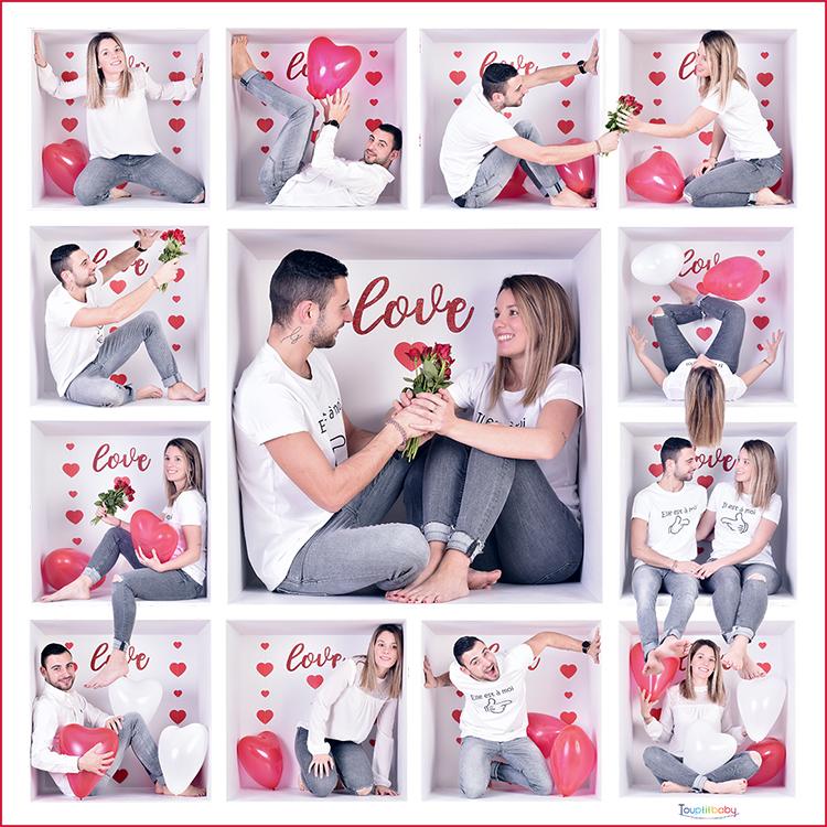 montage de 13 photos dans une boite d'un couple